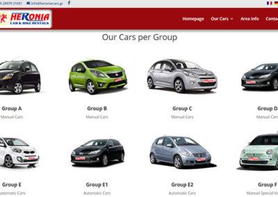 Σελίδα για παρουσίαση των αυτοκινήτων ανά κατηγορία